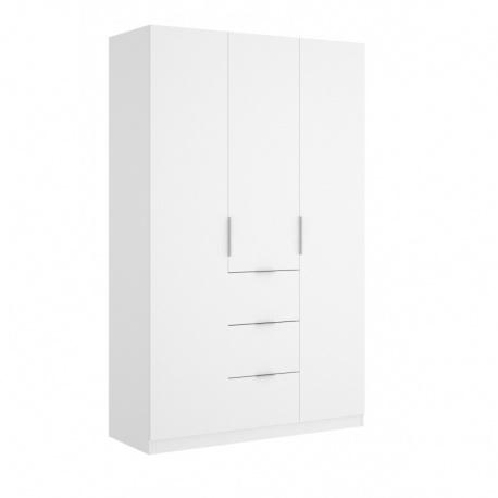 Armario blanco brillo con tres puertas y tres contenedores exteriores