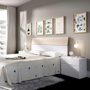 Cabezal y mesitas Gia acabado color blanco y natural. Cabecero y dos mesitas para cama de 135 y 150cm. Sayez