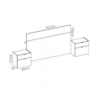 Medidas mesitas Gia para camas 135 y 150 cm. Ancho: 50 cm x largo: 34 x Alto: 47 cm.  Medidas cabezal: 161x6x100 cm. Sayez