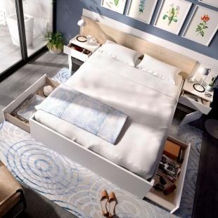 Cabezal y mesitas Alice acabado color blanco y natural. Cabecero y dos mesitas para cama de 135 y 150cm. Sayez