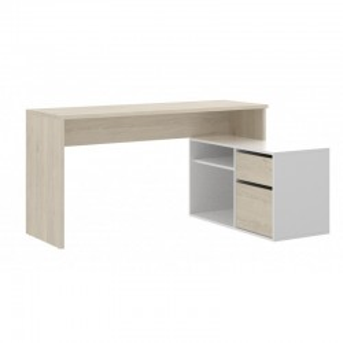 Mesa de escritorio con cajonera y estante Blanco Brillo y Natural
